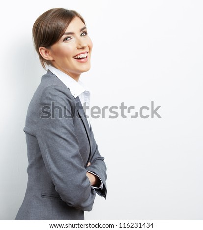Smile Business woman portrait isolated. Female model with long hair. - stock photo