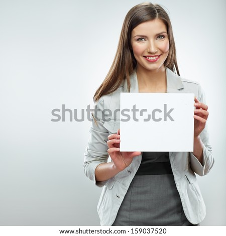 Smile Business woman portrait with blank white banner, board on white isolated . Female business model with long hair. - stock photo