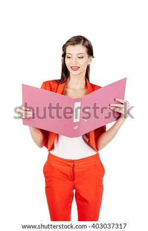 Smile  business woman wearing in red suit and holding a pink folder. Isolated on white background. business, technology and people concept