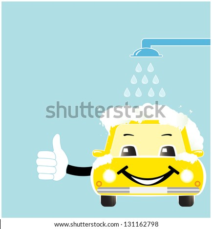 smile cartoon car in car wash with soap spume - stock photo