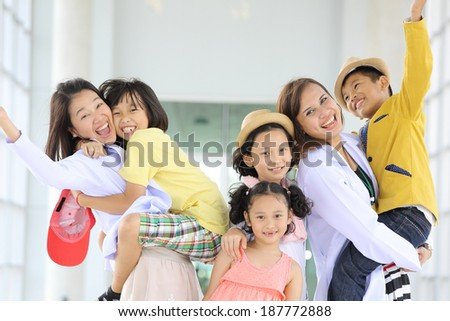 Smile children post together with their activity