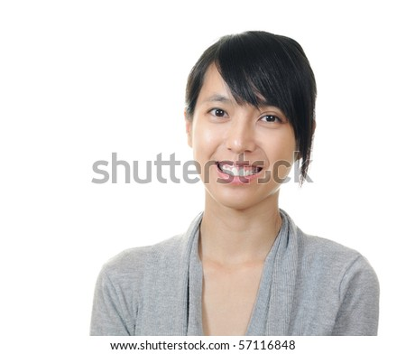 smile chinese girl on white background