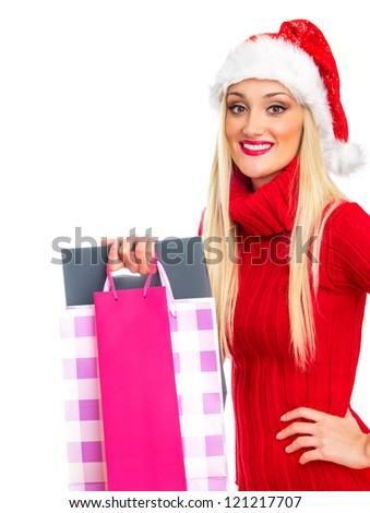Smile christmas or santa claus woman with gift. Isolated on white, close up