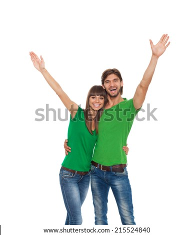 smile couple holding arms and hands palms up, isolated over white background concept of happy student, young success woman and man surprised excited wear green t shirt