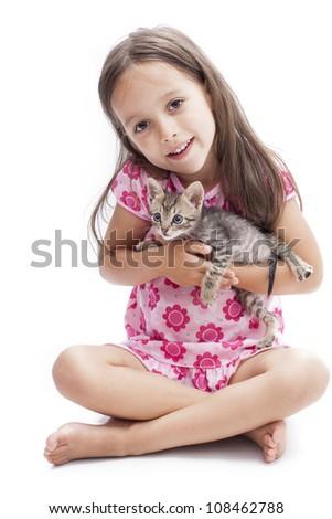 smile cute girl holding a kitten - stock photo