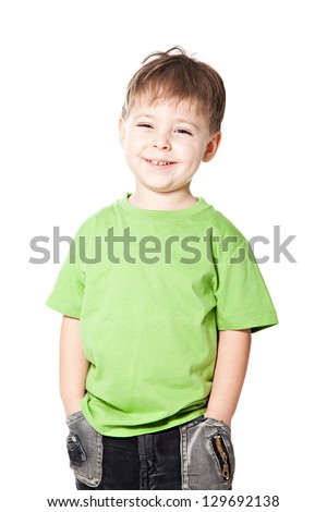 Smile cute little boy isolated on white background
