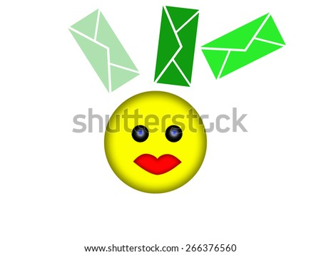 Smile face and letters - stock photo