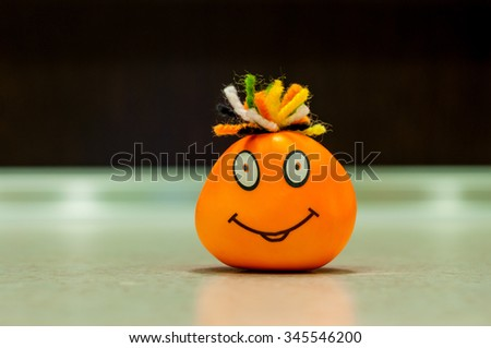 Smile Face. Self-made man's face with a smile. - stock photo
