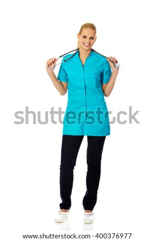 Smile female doctor or nurse with stethoscope