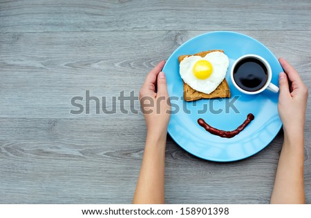 Smile for sweet breakfast with love - stock photo
