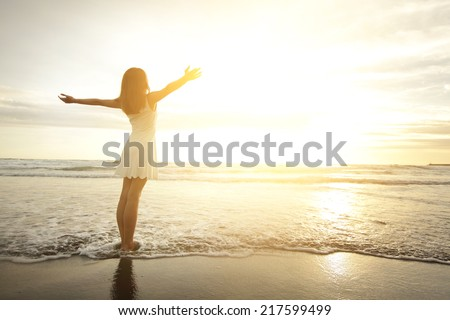 Smile Freedom Happiness Woman On Beach Stock Photo (Edit ...