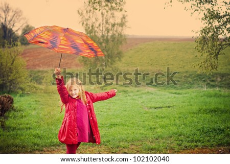 smile girl outdoor - stock photo