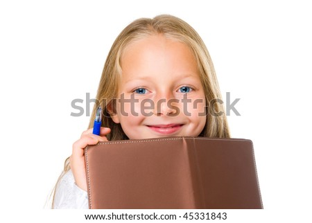 smile girl with pen  diary  isolated on white - stock photo