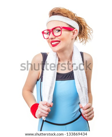 Smile happy young fitness girl, isolated on white - stock photo