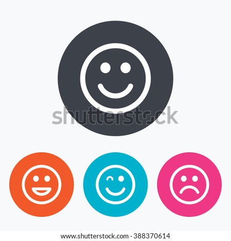 Smile icons. Happy, sad and wink faces symbol. Laughing lol smiley signs. Circle flat buttons with icon. - stock photo