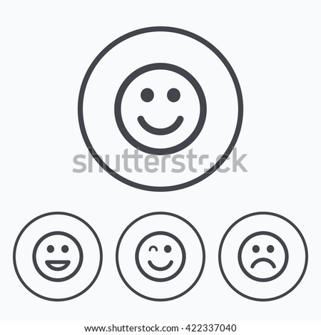 Smile icons. Happy, sad and wink faces symbol. Laughing lol smiley signs. Icons in circles. - stock photo