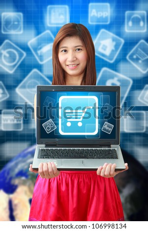Smile lady and Cart icon on notebook computer : Elements of this image furnished by NASA - stock photo