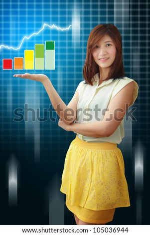 Smile lady and graph report : Elements of this image furnished by NASA