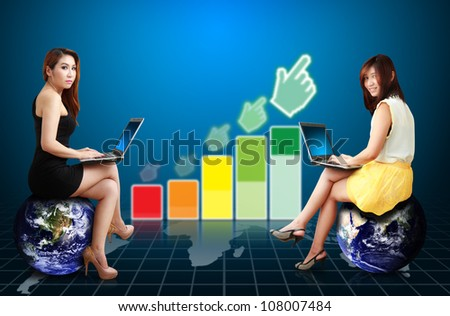 Smile lady and higher graph : Elements of this image furnished by NASA - stock photo