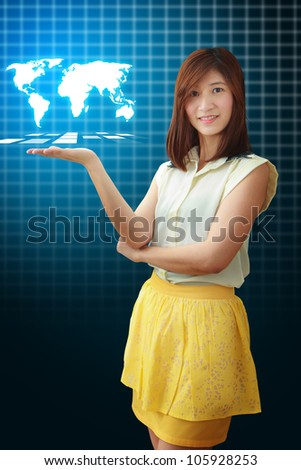 Smile lady and world map on her hand