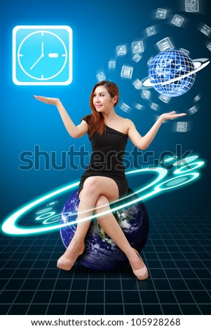 Smile lady hold Clock icon from app world : Elements of this image furnished by NASA - stock photo