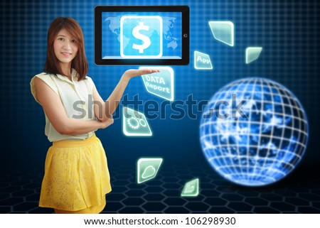 Smile lady hold Money icon on digital touch pad : Elements of this image furnished by NASA