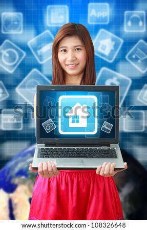 Smile lady hold the House icon: Elements of this image furnished by NASA - stock photo