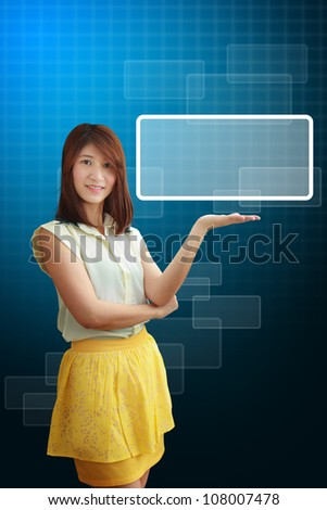 Smile lady hold windows icon - stock photo