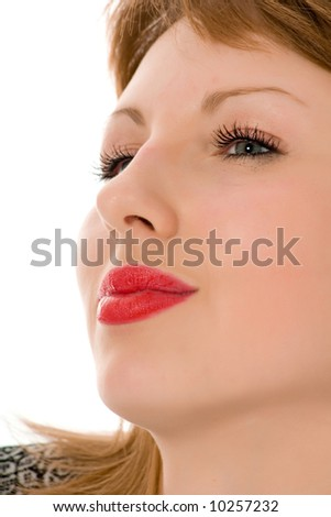 Smile of a beautiful young woman on white background