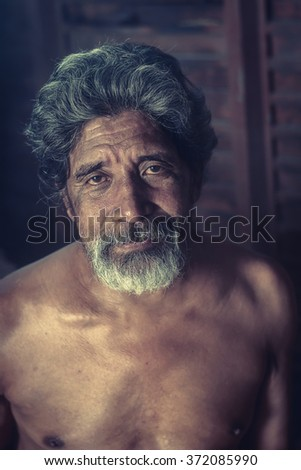 Smile of Elderly Asian Man - stock photo