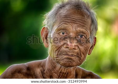 Smile old man   - stock photo