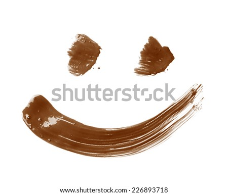 Smile or smiley face drawn with oil paint brush strokes, isolated over the white background - stock photo