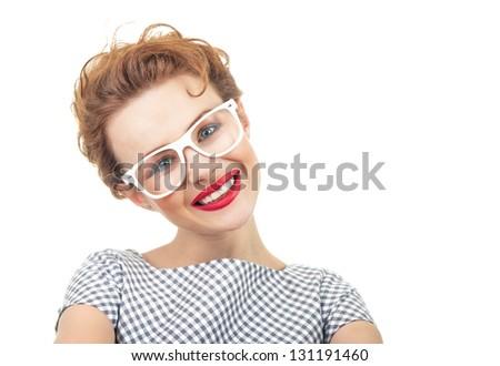 Smile retro style young woman, close up studio shot - stock photo