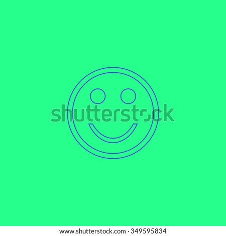 Smile. Simple outline illustration icon on green background