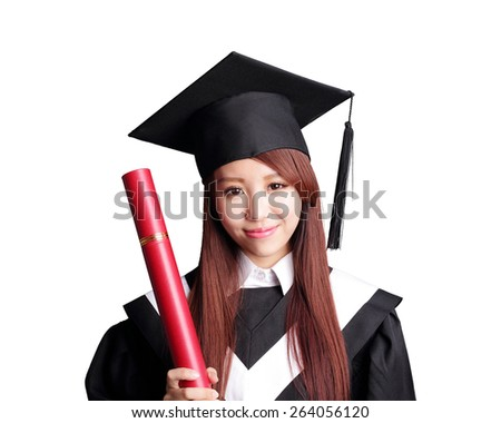 Smile student woman graduating and holding her diploma isolated on white background, asian beauty - stock photo