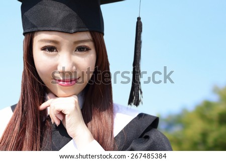 Smile student woman graduating in the campus, asian beauty - stock photo