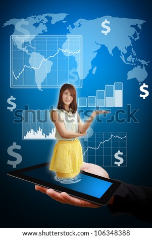 Smile woman present the Graph report - stock photo