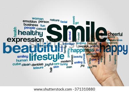 Smile word cloud - stock photo