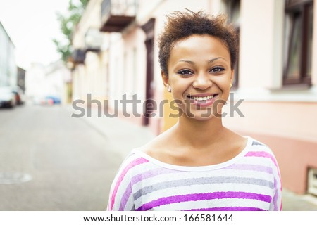 Smile young african american beautiful girl - stock photo