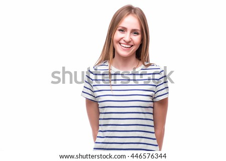 Smile young girl over white back. People emotions concept.