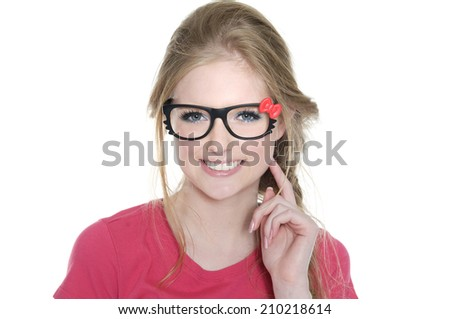 Smile young woman's face and hands - stock photo