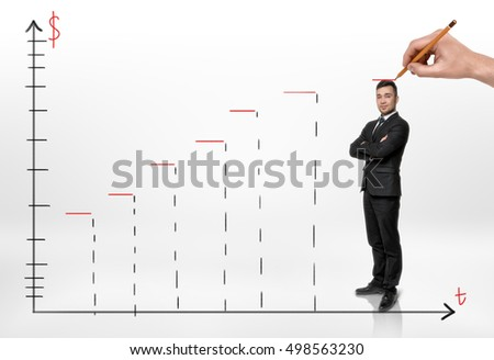 Smiled businessman standing on a schedule of profit growth and someone hand drawing a red line above his head. Increasing income. Revenue and profits. Career progress. Improving success rate.