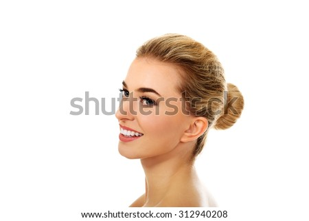 Smiled young naked woman, isolated on white. - stock photo
