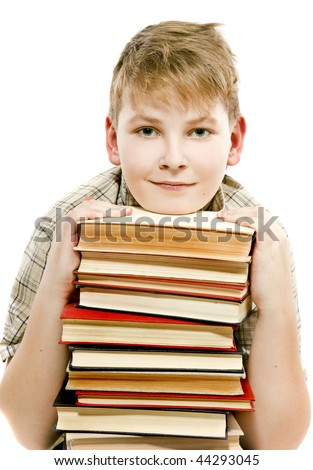 smiles schoolboy teenager studying holding tutorials books