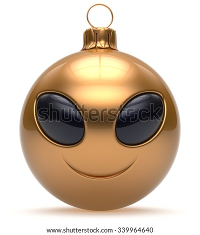 Smiley alien face Christmas ball Happy New Year's Eve bauble cartoon cute emoticon decoration gold. Merry Xmas cheerful funny smile person character toy laughing eyes joy adornment concept. 3d render