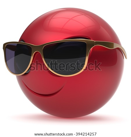 Smiley alien face head cartoon cute sunglasses emoticon monster ball red gold avatar. Cheerful funny smile invader person character toy laughing eyes joy icon concept. 3d render isolated