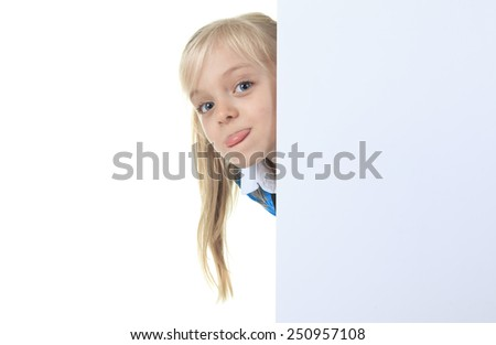 smiley and pretty girl posing in studio against a white background - stock photo