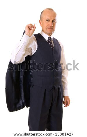 smiley businessman holding his jacket. isolated on white