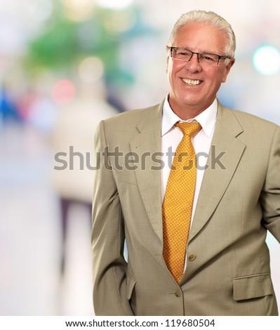 Smiley Businessman, Outdoor - stock photo
