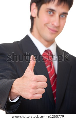 smiley businessman showing thumbs up over white background - stock photo